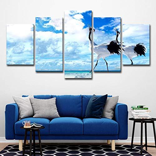 �cke Blauer Himmel Weiße Wolken Weißer Kran Landschaft Poster Dekoration Wohnzimmer Kein Rahmen Größe C ()