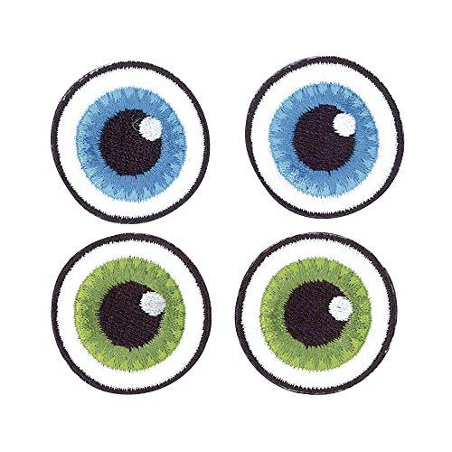Rayher Hobby 69023000 Stoff Aufbügelmotiv Basic Eyes, 3 cm Durchmesser, SB-Beutel 2-Paar, blau/grün -