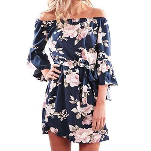 Lazzboy Women Off Shoulder Floral Print Three Quarter Long Sleeve Short Mini Dress Ladies Beach Party Dresses