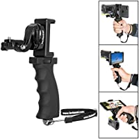 Fantaseal® Ergonomic Action Camera Grip Mount Action Cam Handheld Stabilizer Support Action Camera Handle Steadicam Selfie Stick w/ Smartphone Clamp Mount (UP TO 5.7 Inch Screen ) for SONY FDR X-3000V X1000VR HDR AS 300 AS-10 AS-15 AS-20 AS-30 AS-50 AS-100 AS-200 AZ-1 Action Camera Grip Mount , Versatile Action Camera Handheld Grip Micro Movie Shooting System (Improved Version)