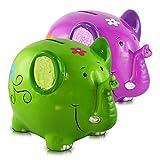 HC-Handel 917553 Keramik Spardose Elefant 18 x 12 cm grün oder pink