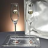 "Set/Estuche de 2 copas de champán para novios, bodas de plata/oro, aniversarios + bandeja de cristal, colección ""ALIANZAS"", aplique bilaminado."