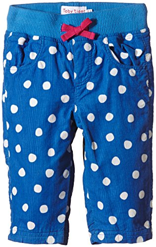Toby Tiger 100% cotton cord blue dot trousers.-Pantaloni Bambina    blu 6-12 Meses