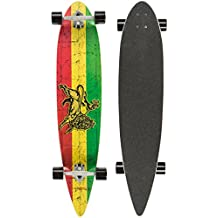Ultrasport Carving - Monopatín Longboard para el cruising en la ciudad y el parque, color verde / amarillo / rojo