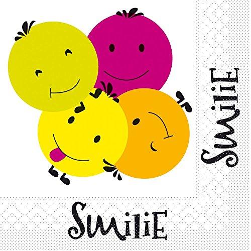 SMILIE/ Tissue-Servietten 33x33 cm / saugstarke und hochwertige Einweg-Servietten / ideal für Geburtstage und Partys/ 20 Stück (Smilie Gesicht)