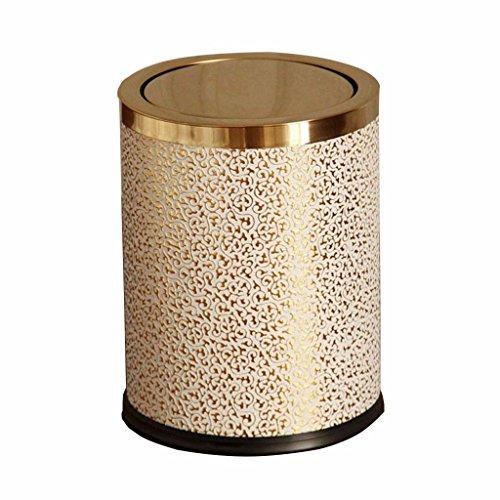 JD Papierkörbe Badezimmer und Wohnzimmer Toilette Edelstahl Mülleimer, Küche Badezimmer Kreative Flip Müll Recycling-Fach 9L, 12L Einfache Form (Farbe : Gold, größe : 12L) -