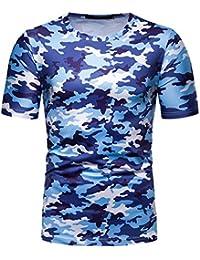 740e8ee43efe JIANGfu Uomo Maglietta Mimetica,T-Shirt Manica Corta Girocollo Stile  Casuale Primavera Estate