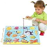 Faironly Kinder Holz magnetisch Angelspielzeug mit 2 Angelruten Lernpuzzle Spielzeug Niedlich Spielhaus Spielzeug Geschenk Ocean Fishing