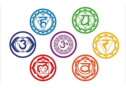 * 7 CHAKRA * Wandklebefolie Wandtattoo Sticker Aufkleber - Meditation Yoga Spiritualität Esoterik Reiki Balancing Heilung