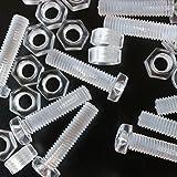Paquete de 20 tornillos y tuercas transparentes, de plástico acrílico. M5 x 20mm