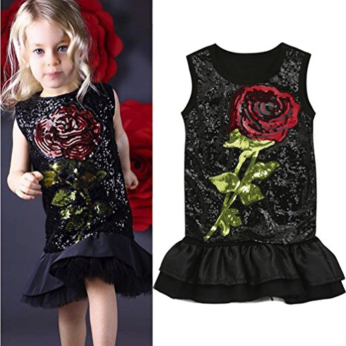 C'est Kinder Sleeveless Pailletten Glitter Rose Blume Rock Fashion Rüschen Saum Party Prinzessin Kleid für Babys (3T, Schwarz)