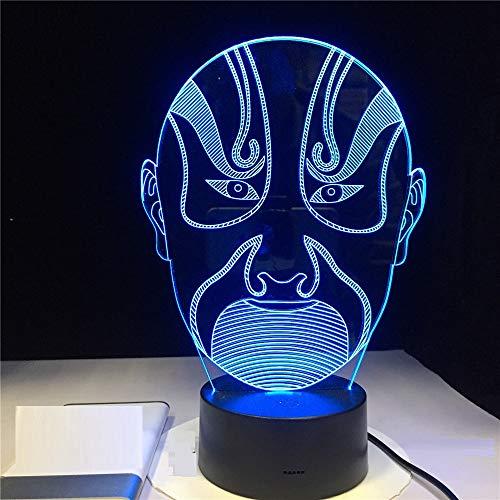 3D Tischlampe Illusion 3D Vision Nachtlicht Opera Male Face Bunte Led Image Book Touchment Control Farbe 3D Nachtlampe Schreibtisch Licht