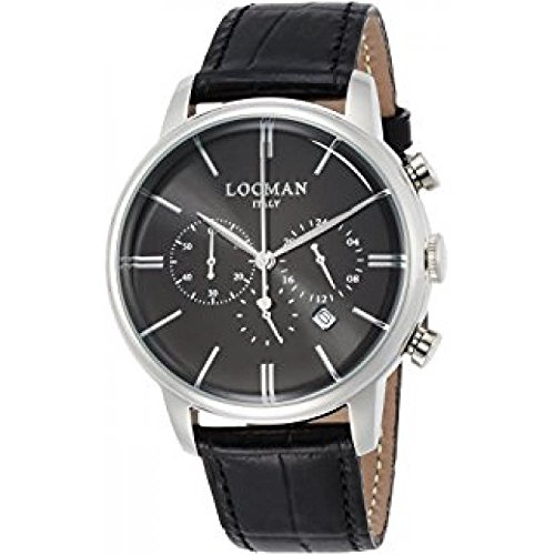 Watch Locman 1960 Crono 0254 a01 a-00bknkpk Quartz (Rechargeable) quandrante Steel Black Leather Strap