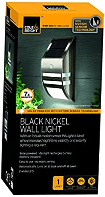 Cole & Bright 18344 Motion Sensor Nickel Wall Light - Black - cheap UK wall light store.