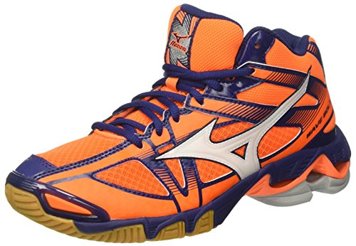 Mizuno Wave Bolt 6 Mid, Scarpe da Ginnastica Uomo, Arancione (Orange Clown Fish/White/Blue Depths), 44.5 EU