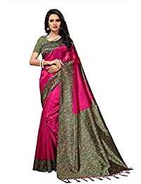 Fabwomen Sarees Kalamkari Pink And Multi Coloured Mysore Silk With Tessals Fashion Party Wear Women's Saree/Sari...