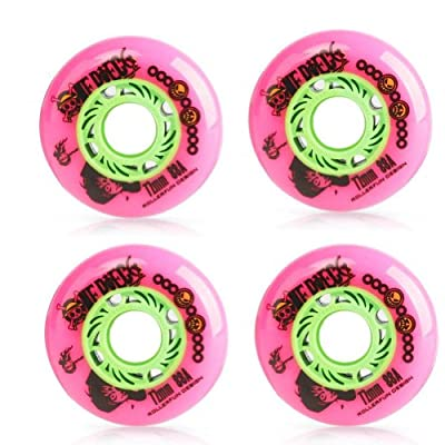 Set von 4 Skateboard-Zubehör Inline-Skate-Räder mit Lager, Rosa, 72MM