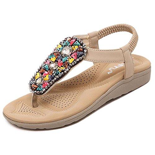 XIAOLIN Été National Style Sandales Fond plat Slip Étudiant Chaussures Grande Taille Sandales Douces Chaussures de plage (Taille facultative)