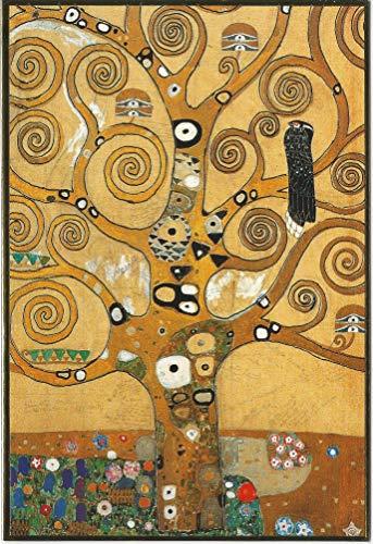 Klimt Kunstklappkarte Set 3 Stück Goldprägung Kunstkarte Der Kuss Bauerngarten mit Sonnenblumen Lebensbaum Postkarte