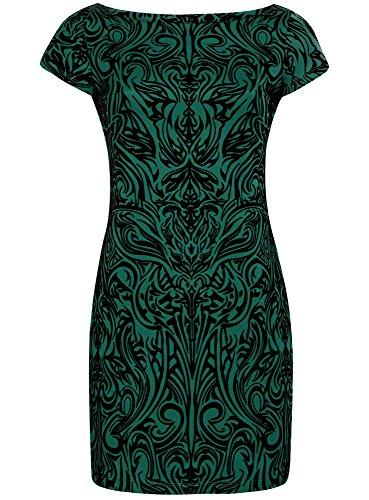 oodji Ultra Femme Robe en Maille à Imprimé Floqué Vert (6929O)