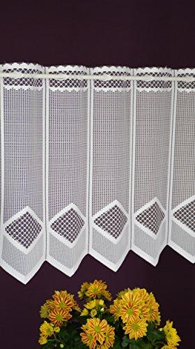 Albani - tenda a pannello su misura, in tessuto jacquard, stile rustico, altezza 45 cm, larghezza 11,5 cm, con passaggi a scelta, colore: bianco