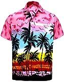 La Leela männer Hawaiian Hemd Kurzarm Button Down Kragen Fronttasche Beach Strand Hemd Manner Urlaub Casual Herren Aloha Rosa_274 2XL Likre 999