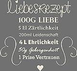 GRAZDesign 300033_30_WT816 Wandtattoo für Küche Rezepte Liebesrezept Herzen Liebe - Geschenk-Idee für Hochzeit | Deko für Küchenwand (32x30cm // 816 Antique White)
