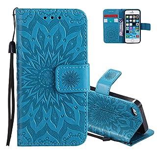 Aeeque Flip Cover Ledertasche,Hochwertig Prägung Sonnenblume Muster Schutzhülle,Kartenfach Ständer Brieftasche kompatibel mit iPhone 5 5S SE (4.0 Zoll) mit Lanyard Weich Silikon Innere Bumper, Blau