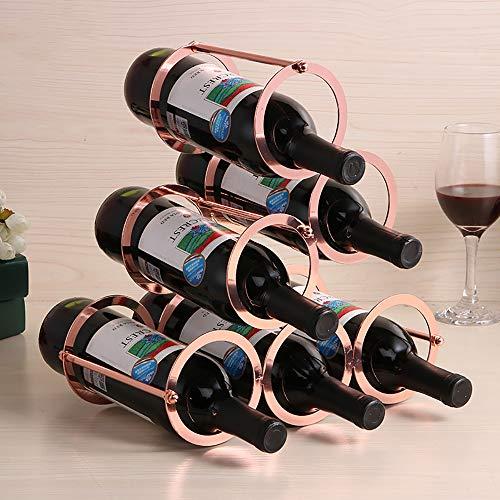 Weinregal,Regale Weinflaschenhalter Weinschrank Weinhalter Stabiles Schöner Metall Weinständer für 6 Flaschen Wein Tisch Halterung zur Lagerung von Home Dekoration(Gold) -