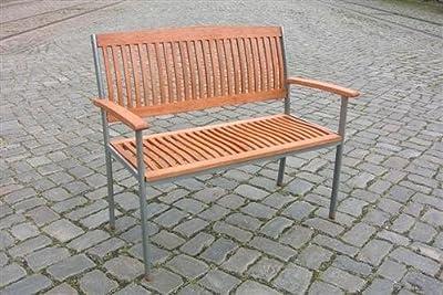Moderne Gartenbank Parkbank 2 Sitzer Euklayptusholz Stahlgestell *IPANEMA