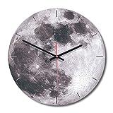 Eurobuy Orologio da Parete in Legno Modello Luna, Silenzioso Stile Moderno Fantastico, Adatto per la Decorazione Domestica/Ufficio/Orologio Scolastico (Color : Gray)