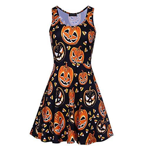 Frauen Männer Halloween Kürbis Ärmelloses Tank-Kleid Europäischen Und Amerikanischen Halloween Kürbis Print Rock Ärmelloses Tank-Kleid, Schwarz, M