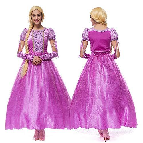 FHSIANN Erwachsene Frauen Halloween Rapunzel Prinzessin Kostüm Lange Lila Vintage Kleid Anzüge PartyCosplay Outfit Für Mädchen Plus Größe (Rapunzel Kostüm Für Erwachsene)