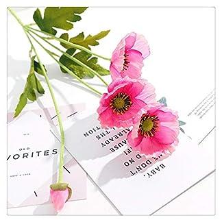 Lmy0624 Rama De Flor Artificial Flores De Amapola con Hojas Flor Artificial para Decoración De Fiesta En Casa Amapolas Diez Piezas 58cm