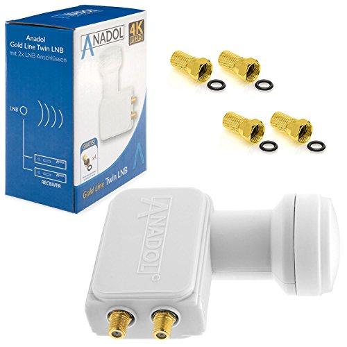 Anadol Gold Line Twin LNB Digital 4K 0.1dB für 2 Teilnehmer Direkt Anschluss Dual 2fach Full HD TV 3D 4K + Kontakte vergoldet + Wetterschutz (ausziehbar) im Set mit 4 F-Stecker vergoldet GRATIS