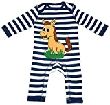 HARIZ Baby Strampler Streifen Süßes Pferd Frisst Gras Süß Tiere Dschungel Plus Geschenkkarten Navy Blau/Washed Weiß 6-12 Monate