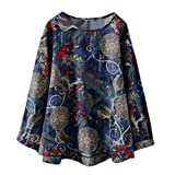 Produp Hot Fashion 2019 Valentinstag Frauen Langarm Leinen Blumendruck Freizeithemd Rundhals Oversize Sweatshirt Bluse Tunika Komfortable Pullover
