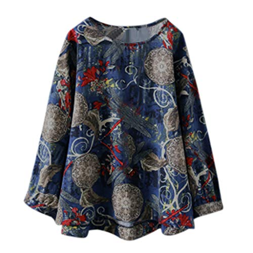 iHENGH Damen Top Bluse Lässig Mode T-Shirt Frühling Sommer Frauen Bequem Blusen Langarm Blumendruck Freizeithemd Rundhals Oversize Tops(Marine, XL)