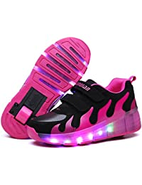 SGoodshoes Niños Zapatillas con Ruedas LED Sola Ronda Para Skate Zapatos Deportivas con Luces Niñas Zapatos con Ruedas Led Mujer