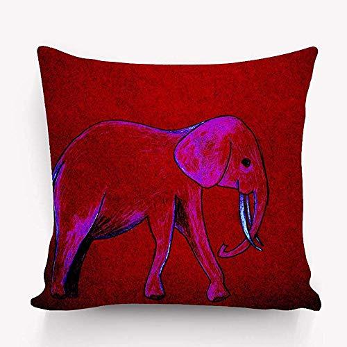 Funda de Almohada Decorativa de algodón Funda de cojín Pulgadas Elefante Boceto a Mano Brillante 45X45cm