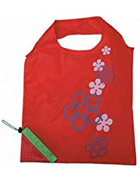 Designeez Hot Fashion Cute Strawberry Foldable Reusable Shopping Storage Bag Women Travel Grocery Bags Tote (Red)