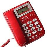 Telefon, Festnetz Hotelbüro zu Hause Festnetztelefon Anrufer-ID Großes Volumen Dual Interface (rot/weiß)