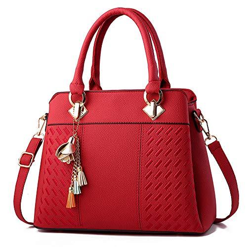 Keepop Frauen Geldbörsen Satchel Handtaschen Damen Designer Top Griff Tote Bag PU Ledertasche Rot -