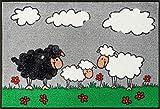 Bavaria-Home-Style-Collection Fußmatte wash+Dry Design Sheep Family Schaf Familie grau Größe 50x75 cm waschbar tolle Geschenk-Idee