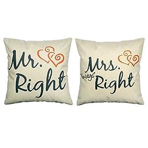 Luxbon Mr Right Mrs always Right Kissenbezüge dauerhaft Leinen Kissen Liebhaber Hochzeit Geschenk Kaffee Dekokissen 45x45 cm