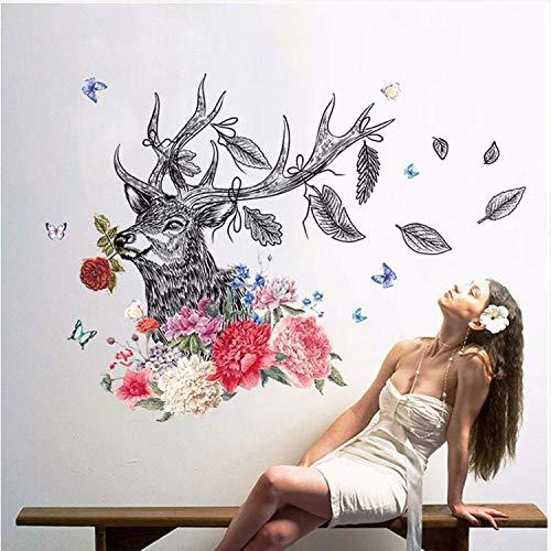 alen Stil Blume Tier Hirsch Wandaufkleber Pfingstrose Rose Wohnzimmer Kunst Aufkleber Schlafzimmer Auf Der Wand Dekoration Wandbilder ()