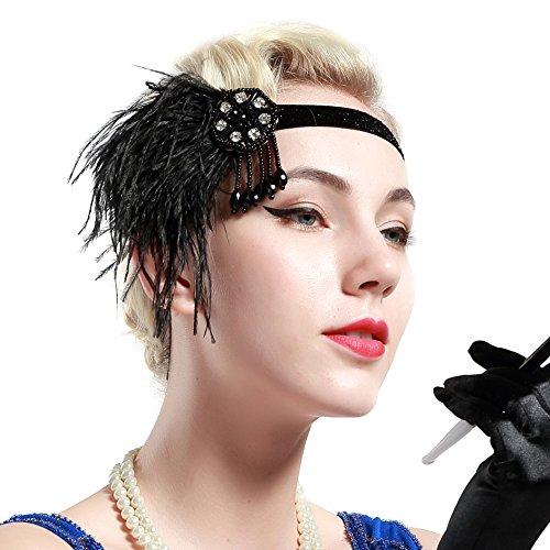 ArtiDeco 1920s Feder Stirnband 20er Jahre Stil Art Deco Flapper Haarband Great Gatsby Stirnband Damen Kostüm Accessoires (Schwarze Feder mit elastischem ()