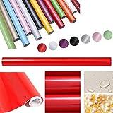 HDM 5M * 61 CM (L*B) dicke PVC Rot Klebefolie –Wasserabweisend selbstklebend DIY Dekofolie Möbel Renovierung Küchenschränke Möbelfolie Tapeten, rot mit glitzerpartikel auf Oberfläche