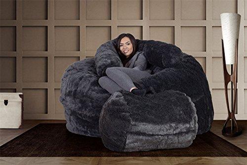 Lounge Pug®, Riesen Sitzsack Sofa C1000-L, CloudSac Latexflocken-Mischung, Schlafsofa, Kunstfell Schwarz