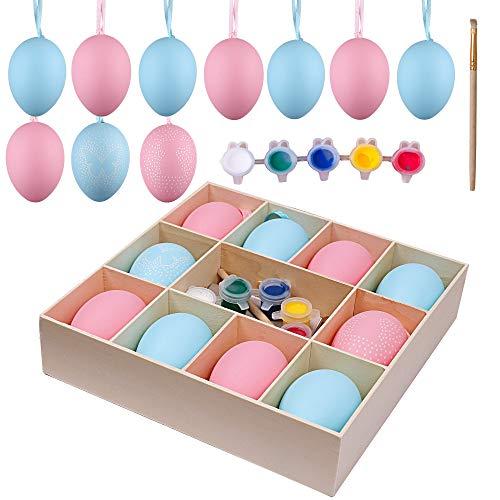 Valery madelyn 10pcs 2.36in / 6cm fai da te pittura uova di pasqua decorazione, pasqua caccia regali ornamenti per bambini/cestino/scuola/albero (pasqua romance rosa e blu)